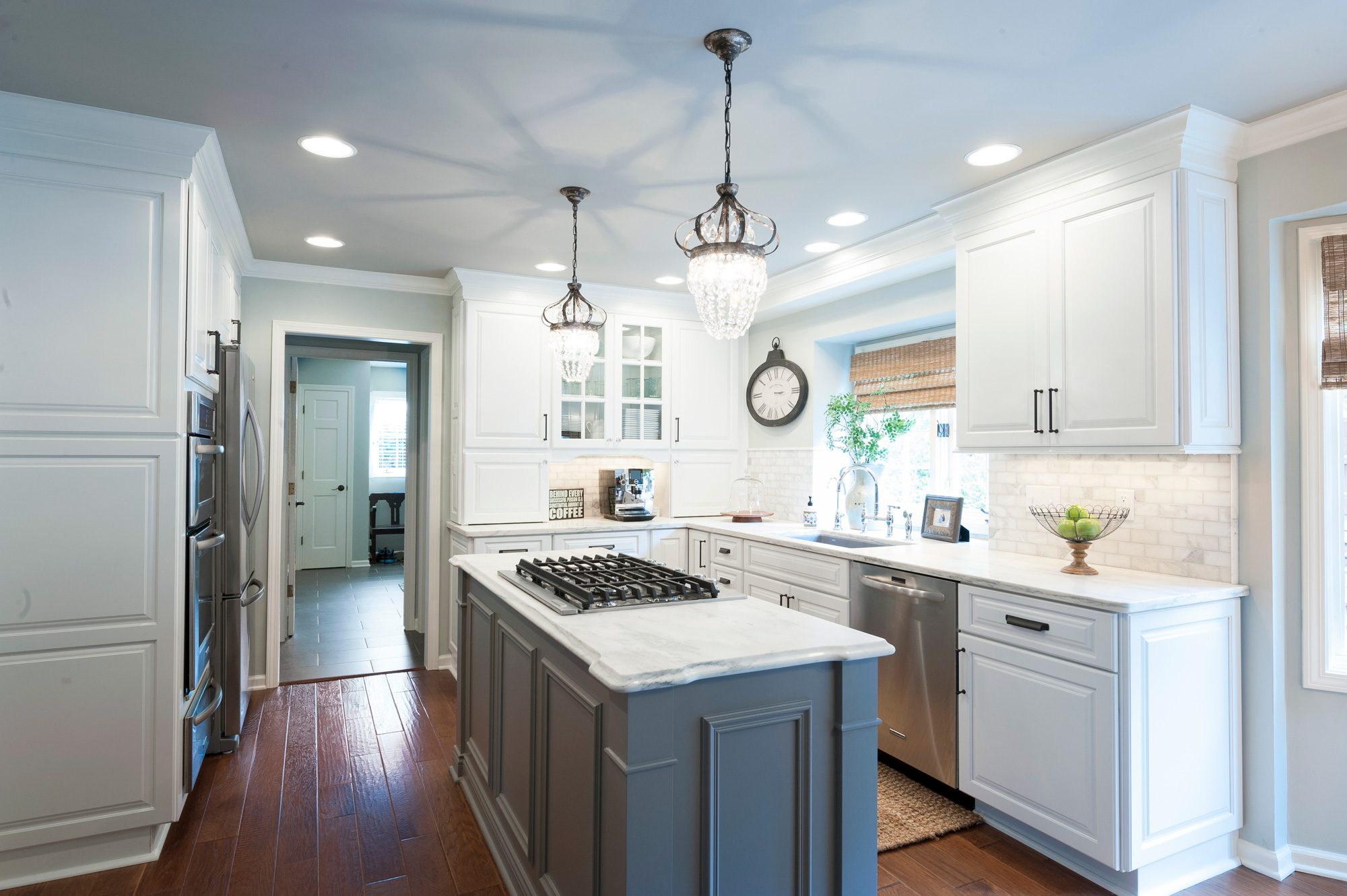 white kitchen cabinets gray island new kitchen with charm indy 28785